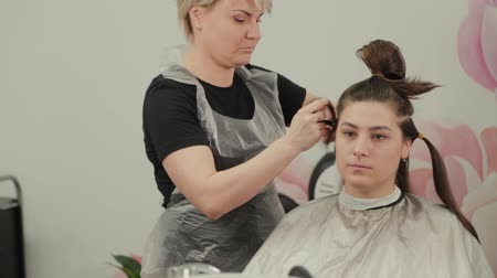 kartáč na vlasy : Professional hairdresser woman prepares clients hair for haircut.