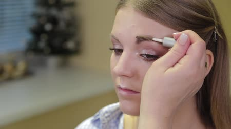 eyebrow correction : Professional makeup artist paints eyebrows to the client with a special brush.