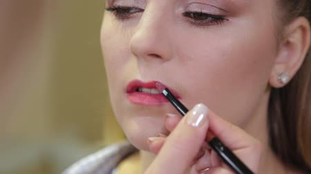 model s : Professional makeup artist brushing lipstick on client s lips. Stock Footage