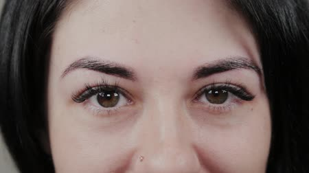 kiterjesztés : Beautiful girl after permanent eyebrow makeup. Portrait of a young girl.