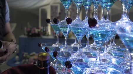 champagne bottles : Beautiful champagne pyramid at a celebration for guests.