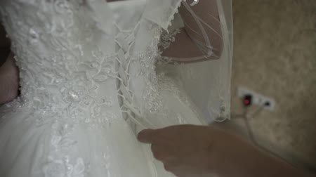 dantel : Bride knotted wedding dress. Happy wedding day. Stok Video