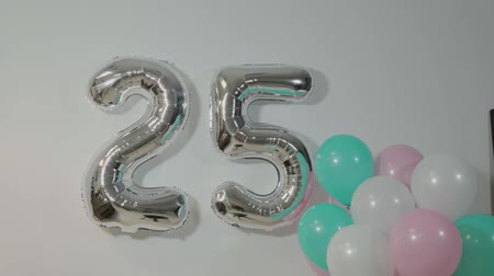five stars : Balloons with the number twenty five. Birthday.