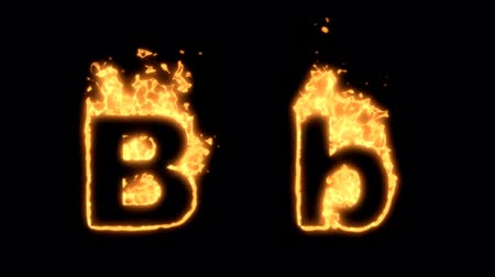 letras : Flaming Alphabet. Upper and lower case B bursting into flames. Part of a series an alphabet, numbers and other characters.