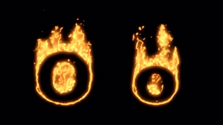 letras : Flaming Alphabet. Upper and lower case O bursting into flames. Part of a series an alphabet, numbers and other characters.