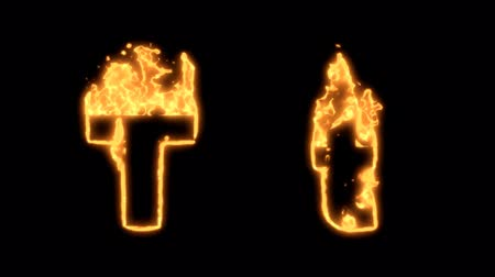 letras : Flaming Alphabet. Upper and lower case T bursting into flames. Part of a series an alphabet, numbers and other characters.