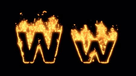 letter w : Flaming Alphabet. Upper and lower case W bursting into flames. Part of a series an alphabet, numbers and other characters.