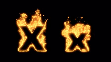 letras : Flaming Alphabet. Upper and lower case X bursting into flames. Part of a series an alphabet, numbers and other characters. Vídeos
