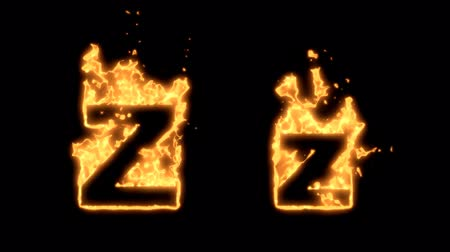alevler : Flaming Alphabet. Upper and lower case Z bursting into flames. Part of a series an alphabet, numbers and other characters.