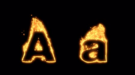 letras : Flaming Alphabet. Upper and lower case A bursting into flames. Part of a series an alphabet, numbers and other characters.