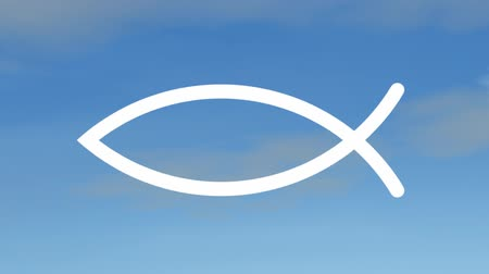 jezus : Christian fish symbol forms in front of a sky background. Wideo
