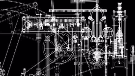 entellektüel : Animation of steam engine parts layered. Loops. Stok Video