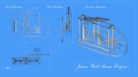 properties : Blueprint engineering drawing animation of a steam engine. Loops.