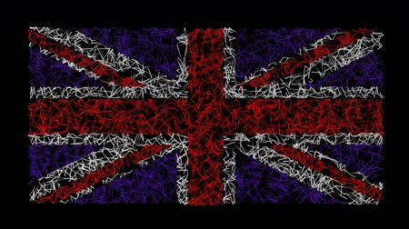 unie : British Union Jack flag created by animated scribble lines.