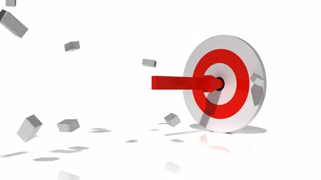 inspiração : A big red arrow smashes through two brick walls then hits the bulls eye of a target.