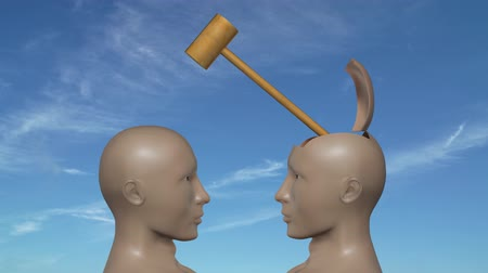 conflict : An agressive argument between two men symbolized by hitting each other on the head with a hammer.