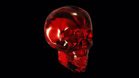 kafatası : Skull made of red glass or crystal rotates through 360 degrees. For a smooth loop remove the last frame. Stok Video