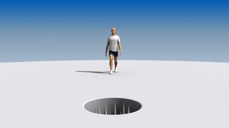 problem : Man walks toward an open hole full of spikes. He stops before he falls in then a big weight squashes him.