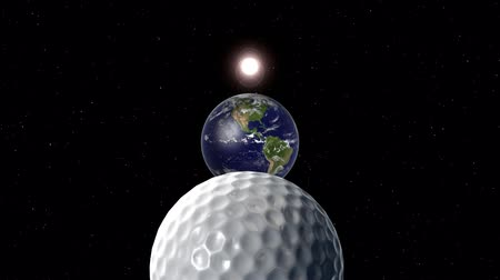The sun then the Earth then a golf ball the size of a planet appear in space.