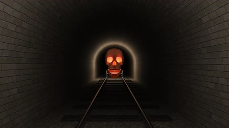 vasúti : Skull train moves down a tunnel.