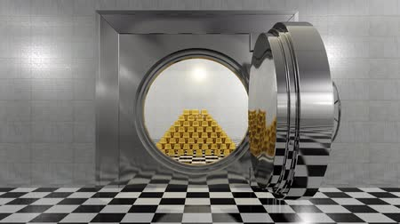 безопасный : Huge bank vault door opens to reveal a stack of gold bars.