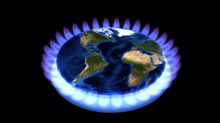 ślady stóp : Earth surrounded by gas flames. Wideo