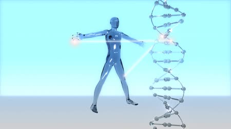 Stylized visualization of dna code being read to form a human.