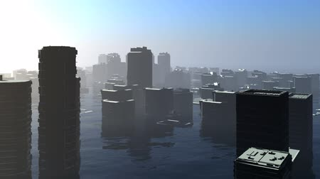 nível : A city is covered by a rising ocean. Stock Footage