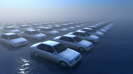 A car park is flooded by a rising sea level.