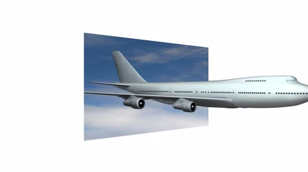 747 Jumbo jet flies out of a rectangle of blue sky. Large white border.