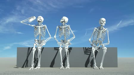 оказывать : Three skeletons sitting down watching something, maybe a sports event.