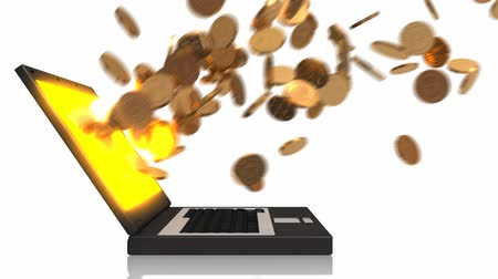 mince : Gold coins come flying out of a laptop screen. Dostupné videozáznamy