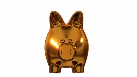 bank : A gold piggy bank filling up with coins and getting fatter. Stock Footage