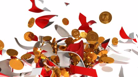 bank : A piggy bank full of gold coins is smashed by a hammer. Stock Footage
