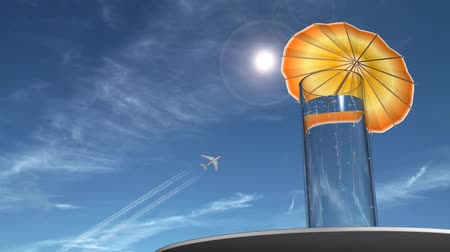 limonada : Fizzy drink with an umbrella in it. Jet flies high above.