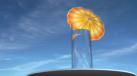 limonada : Fizzy drink with an umbrella in it, blue sky and sun in the background. Slow camera move. Copy space on left.