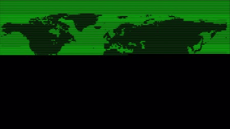 loção : Map of the world made by a retro-looking scanning green line. Stock Footage