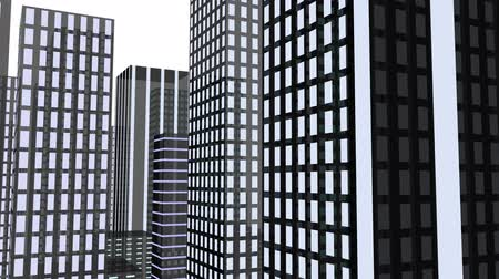 moscas : Camera flies between the towers of a high-rise city. The tower blocks are simplified and abstract-looking. Stock Footage