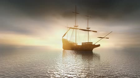 anglia : The Mayflower sailing on a calm sea.