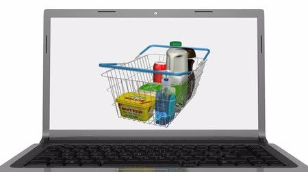 interaktif : Shopping online using a television. Last 300 frames loop. Stok Video