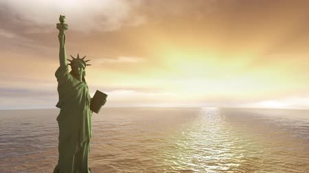 immigratie : Sunrise Statue of Liberty.