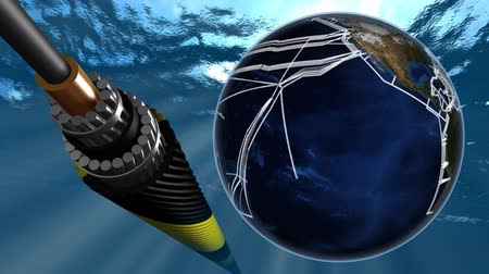 tenger alatti : Submarine internet network map and fiber optic cable.