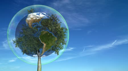 ekologia : A tree growing inside the Earth inside a bubble. Loops.