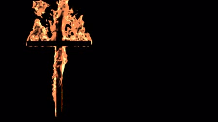 çapraz : Burning christian cross.