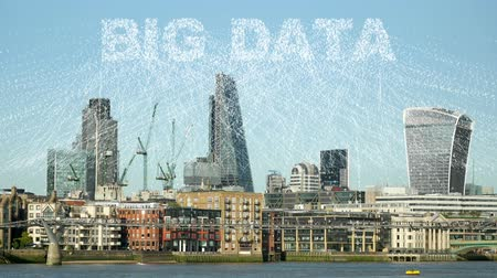 adat : Collecting data from a whole city. Streams of binary code form the words, BIG DATA.