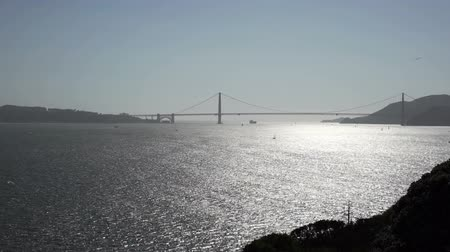 pomost : Golden Gate bridge from Alcatraz island. Wideo