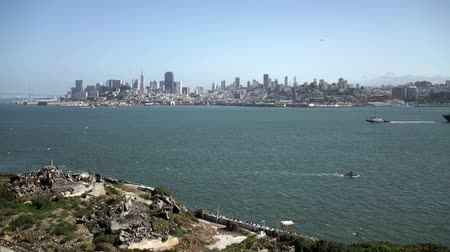 embarcadero : Downtown San Francisco seen from Alcatraz. Stock Footage