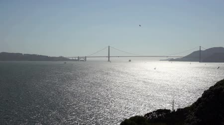 View across San Francisco Bay from Alcatraz island to the Golden Gate bridge. Vídeos