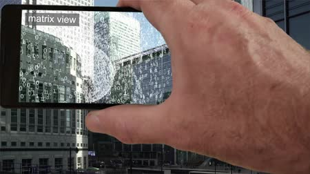 Augmented reality view of city offices emitting data. Vídeos