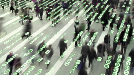 People walking in a city square composited with a grid of glowing, electronic numbers.